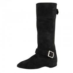 Botte de West Coast Swing  en cuir nubuck noir  Rumpf