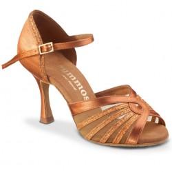Chaussures de Danse Rummos Women Latin Dance Satin Tan et Glitter